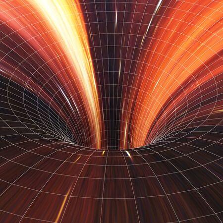 singularity: Abstract black holes, wormholes, warp tunnel. 3d illustration