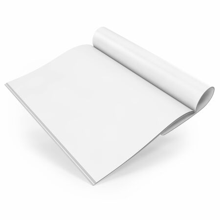 open magazine: Open white journal, magazine with blank pages, isolated on white background. 3D illustration