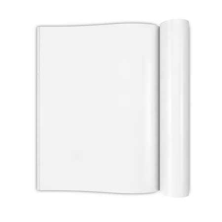 Open white journal, magazine with blank pages, isolated on white background. 3D illustration