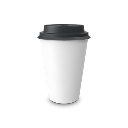 take out food: Blank paper coffee cup isolated on white background. 3D illustration