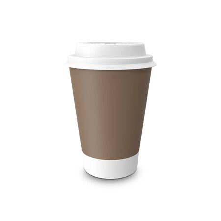 takeout: Mock-up take-out coffee in thermo cup. Isolated on a white. 3D illustration Stock Photo