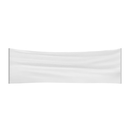 blank banner: Stretched, tensioned white blank cloth banner isolated on white background. 3D illustration Stock Photo