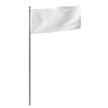 Blank, mock-up white flag isolayed on white background. 3D illustration