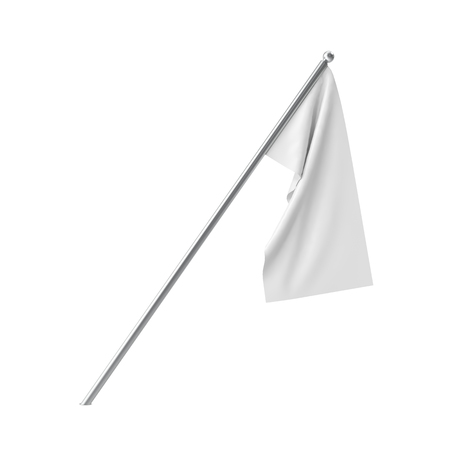 white blank: White blank flag hanging in a calm state. Isolated on white background. 3D illustration Stock Photo