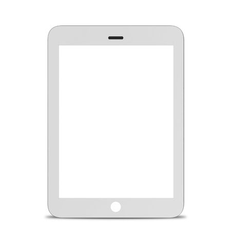 electronic device: White tablet computer, electronic device isolated on white background. 3D illustration Stock Photo