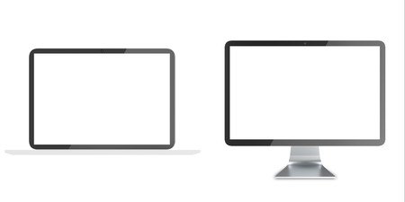 lcd: Notebook, Lcd monitor, personal devices with empty LCD screens isolated on white background. 3D illustration