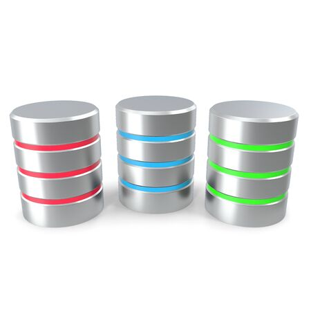 harddrive: Set Database isolated on white background. 3D illustration