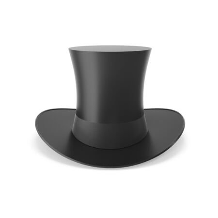 stovepipe hat: Top hat with black ribbon isolated on white background. 3D illustration