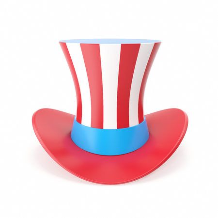 hatband: Uncle Sams hat. Symbol of freedom and liberty. Isolated on white background. 3D illustration