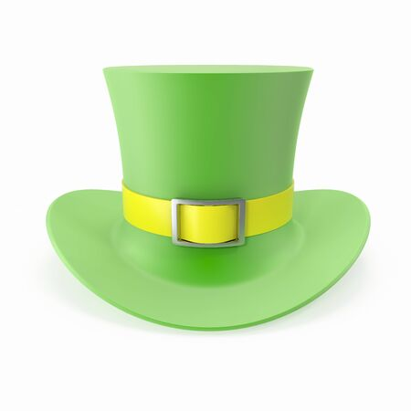 hatter: Green Top Hat, St Patricks hat. Isolated on white background. 3D illustration Stock Photo