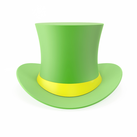 lucky break: Green Top Hat, St Patricks hat. Isolated on white background. 3D illustration Stock Photo