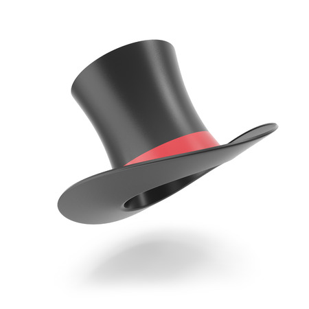 tophat: Top hat with red ribbon isolated on white background. 3D illustration