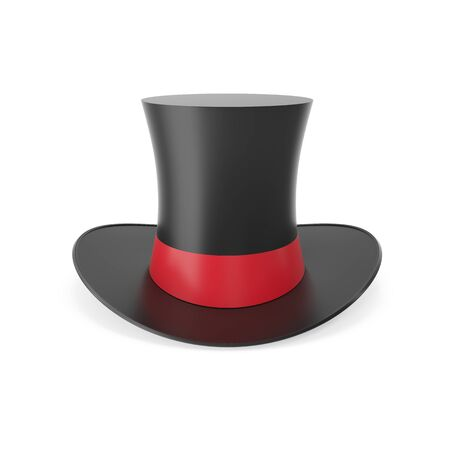 top hat: Top hat with red ribbon isolated on white background. 3D illustration