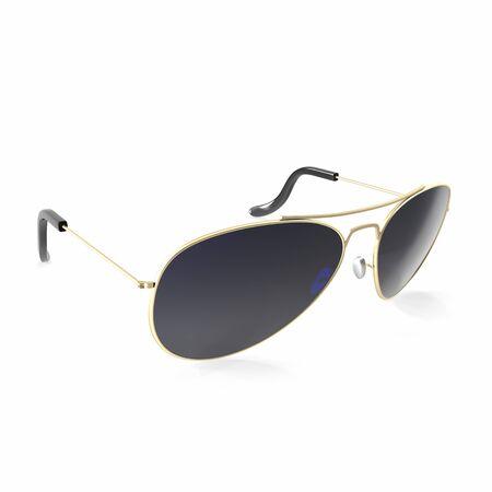 sunglasses isolated: Sunglasses dark black sunglasses isolated on white background. 3d illustration Stock Photo