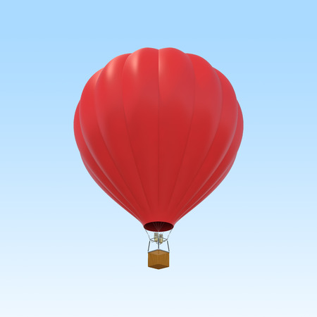 stockie: Red air ballon on sky background. 3d illustration Stock Photo