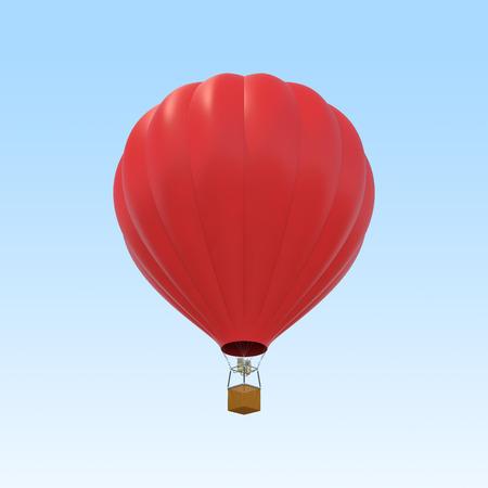 balon: Red air ballon on sky background. 3d illustration Stock Photo
