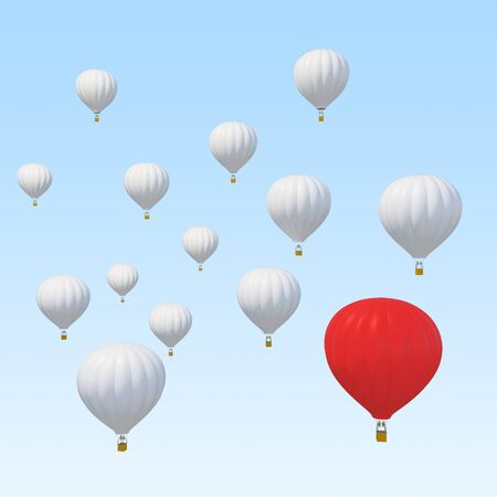 growth hot: Best of breed concept with a red hot air balloon and standing out from the rest isolated on white background. 3d illustration