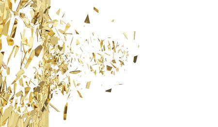 raze: Broken gold wall isolated on white background. Stock Photo