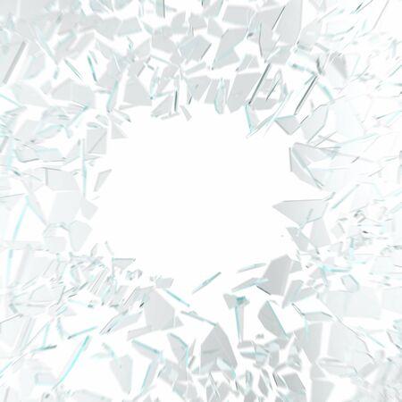 raze: Broken glass in motion isolated on white background.