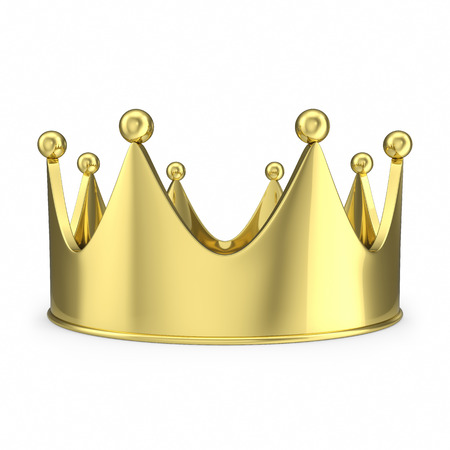 blue and gold: Gold crown with glow isolated on white background.