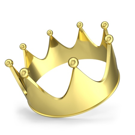 jeweled: Gold crown with glow isolated on white background.
