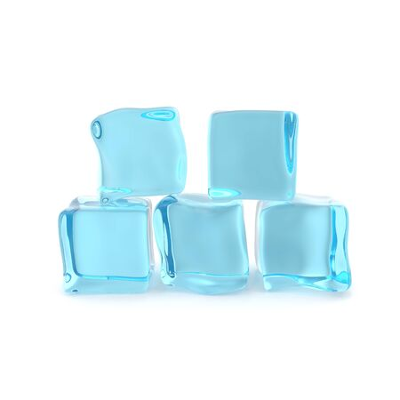 froze: Group of ice cubes isolated on white background.