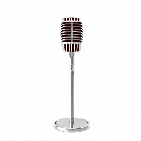 backgorund: Chrome retro microphone isolated on white backgorund.