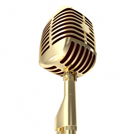 voice recorder: Vintage gold microphone isolated on white background. Stock Photo