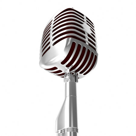 transducer: Retro silver microphone isolated on white background. Stock Photo