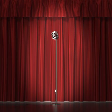 red cloth: Retro silver microphone on red cloth background.
