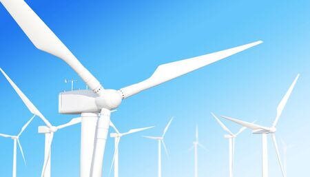 vane: Ecological wind turbine on the sky background with the effect of depth of field. 3d illustration