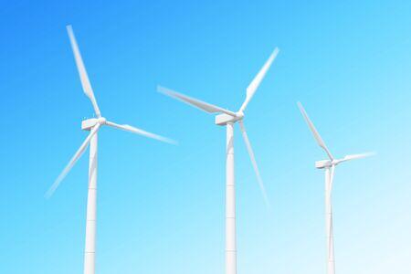 wind mill: wind turbine in motion on skiy background.
