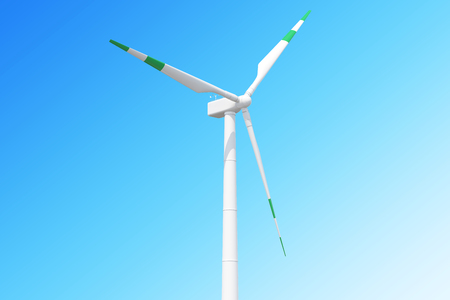 regenerating: Ecological wind turbine with green stripes on the blades on sky background.