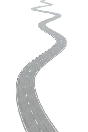 Curved asphalt road going forward with white markings. 3d illustration
