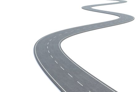 curved road: Curved road isolated on white background.  3d illustration Stock Photo