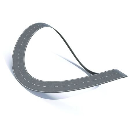 driveway: Bending loop highway on a white background.  3d illustration