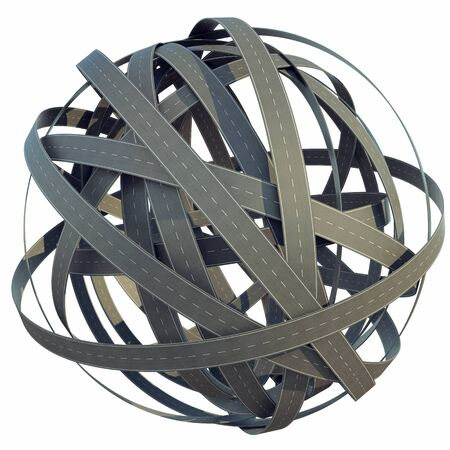 tangled roads: 3d abstract sphere of tangled roads, isolated on white background. 3d illustration Stock Photo