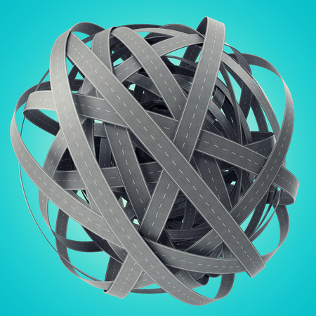 tangled roads: Sphere of tangled roads, on cyan background.  3d illustration