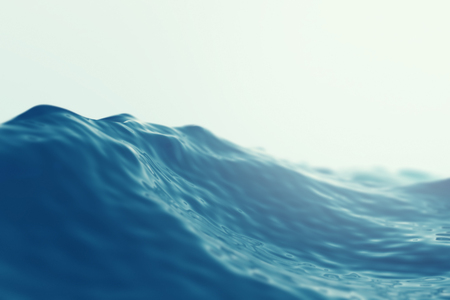 Sea, ocean wave close up with focus effects. 3d illustration Stok Fotoğraf