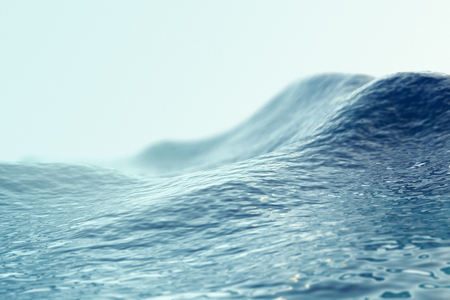 Sea, ocean wave close up with focus effects. 3d illustration Imagens