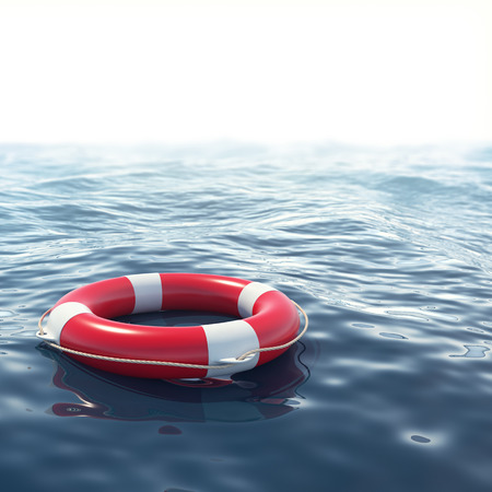 depth: Red lifebuoy in blue sea with depth of field effect. 3d illustration
