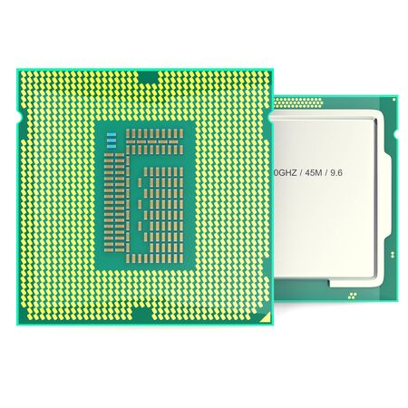 microcomputer: Modern multicore CPU isolated on white. 3d illustration