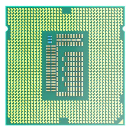 microcomputer: CPU chip, central processor unit, top view isolated on white. 3d illustration