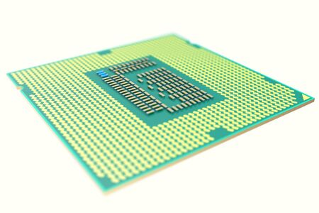 the unit: CPU chip, central processor unit, isolated with depth of field effects. 3d illustration