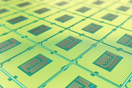 Modern central computer processors CPU, industry concept close-up view with depth of field effect.