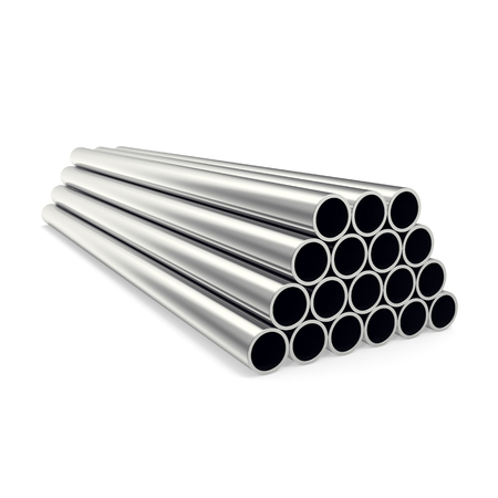 Metal pipes isolated on white background, 3d illustration Imagens