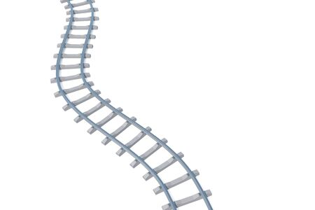 elevated: Railroad aerial view isolated on white background. 3d illustration