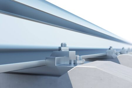 monorail: Railway close-up of view of the effect of depth of field. 3d illustration