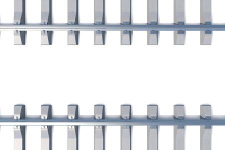 thoroughfare: Railway horizontal top view on white background. 3d illustration Stock Photo