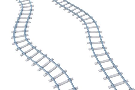 railroads: Railroads aerial view isolated on white background. 3d illustration Stock Photo